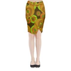 Brown pattern Midi Wrap Pencil Skirt