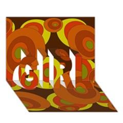Orange pattern GIRL 3D Greeting Card (7x5)