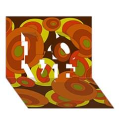 Orange pattern LOVE 3D Greeting Card (7x5)