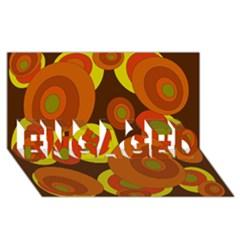 Orange pattern ENGAGED 3D Greeting Card (8x4)