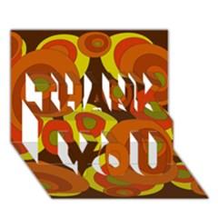 Orange pattern THANK YOU 3D Greeting Card (7x5)