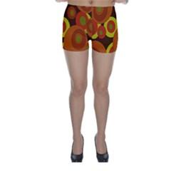 Orange pattern Skinny Shorts