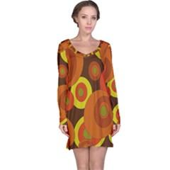 Orange pattern Long Sleeve Nightdress