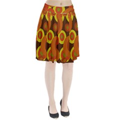 Orange pattern Pleated Mesh Skirt