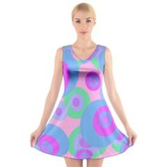 Pink pattern V-Neck Sleeveless Skater Dress