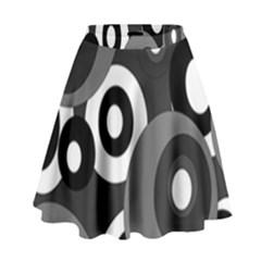 Gray Pattern High Waist Skirt