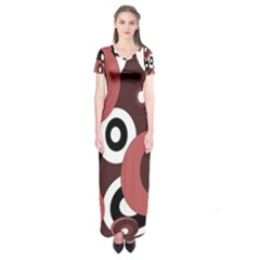 Decorative Pattern Short Sleeve Maxi Dress