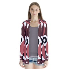 Decorative pattern Drape Collar Cardigan
