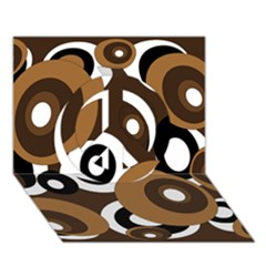 Brown pattern Peace Sign 3D Greeting Card (7x5)