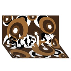 Brown Pattern Sorry 3d Greeting Card (8x4)