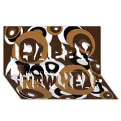 Brown pattern Happy New Year 3D Greeting Card (8x4)