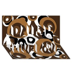 Brown pattern Laugh Live Love 3D Greeting Card (8x4)