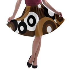 Brown pattern A-line Skater Skirt