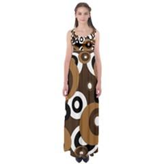 Brown Pattern Empire Waist Maxi Dress