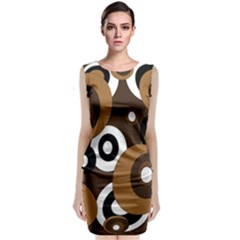 Brown pattern Classic Sleeveless Midi Dress