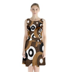 Brown Pattern Sleeveless Waist Tie Dress