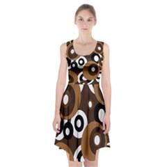 Brown pattern Racerback Midi Dress