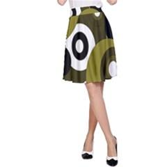 Green pattern A-Line Skirt