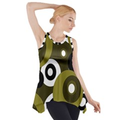 Green Pattern Side Drop Tank Tunic