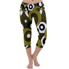Green pattern Capri Yoga Leggings