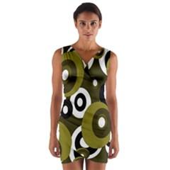 Green Pattern Wrap Front Bodycon Dress