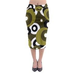 Green Pattern Midi Pencil Skirt