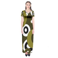 Green Pattern Short Sleeve Maxi Dress