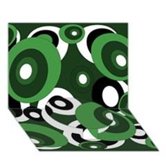 Green pattern Circle Bottom 3D Greeting Card (7x5)
