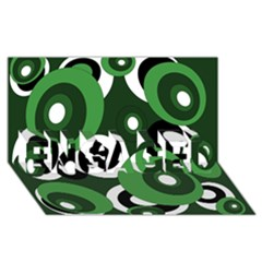 Green pattern ENGAGED 3D Greeting Card (8x4)