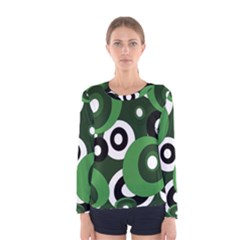 Green pattern Women s Long Sleeve Tee