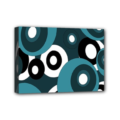 Blue pattern Mini Canvas 7  x 5