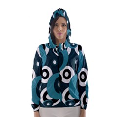 Blue pattern Hooded Wind Breaker (Women)
