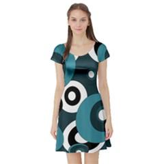 Blue pattern Short Sleeve Skater Dress