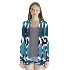 Blue Pattern Drape Collar Cardigan
