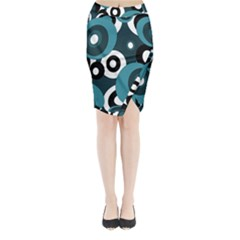 Blue pattern Midi Wrap Pencil Skirt