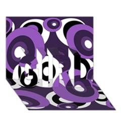 Purple pattern GIRL 3D Greeting Card (7x5)