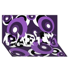 Purple pattern PARTY 3D Greeting Card (8x4)