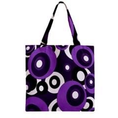 Purple pattern Zipper Grocery Tote Bag