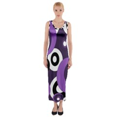 Purple pattern Fitted Maxi Dress