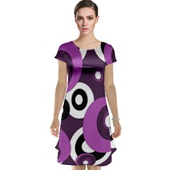 Purple pattern Cap Sleeve Nightdress