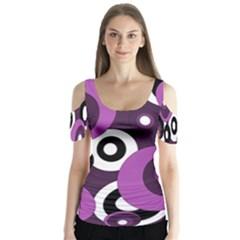 Purple pattern Butterfly Sleeve Cutout Tee