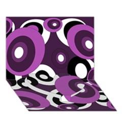 Purple pattern Heart Bottom 3D Greeting Card (7x5)