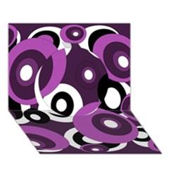 Purple pattern Circle 3D Greeting Card (7x5)