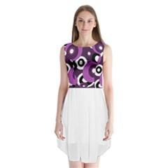 Purple pattern Sleeveless Chiffon Dress