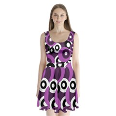 Purple Pattern Split Back Mini Dress
