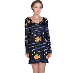 Fish pattern Long Sleeve Nightdress