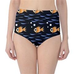Fish pattern High-Waist Bikini Bottoms