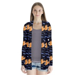 Fish Pattern Drape Collar Cardigan