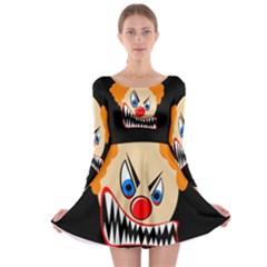 Evil clown Long Sleeve Skater Dress