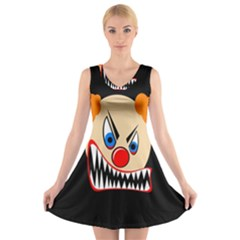 Evil Clown V Neck Sleeveless Skater Dress